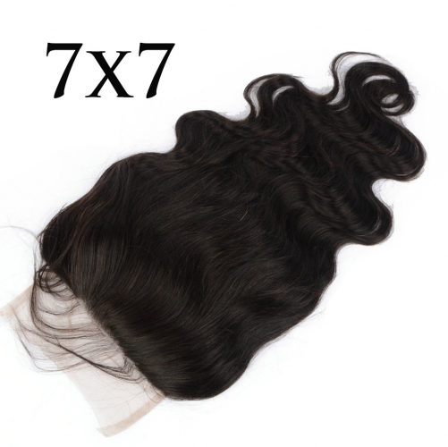 7x7 Body Wave Lace Closure Bleached Knots Free Part Natural Color Hair Lace Closure With Baby Hair 10-22