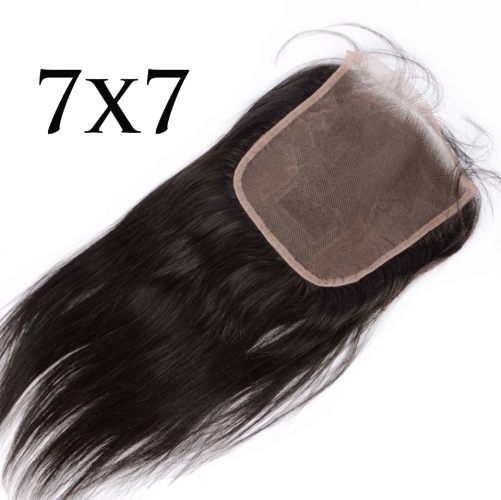 Osolovelybeauty Straight 7x7 Closure Human Hair Lace Closure With Baby Hair Swiss Lace 10-22'' Human Hair Natural Color