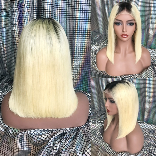 Osolovely 1b/613 Lace Front Bob Wig Straight Pre Plucked Natural Hairline