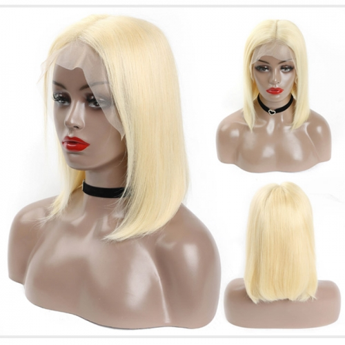 Osolovely 150% Density Blonde 13x6 Bob Lace Wig Pre Plucked With Baby Hair