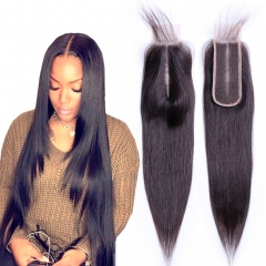 2x6 Osolovelybeauty Straight Hair Lace Closure Pre Plucked Bleached Deep Middle Part With Baby Hair Remy 2x6 Lace Closure