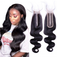 Osolovelybeauty Hair Body Wave Deep Middle Part Closure 2x6 Lace Closure 100% Human Hair With Baby Hair Remy Hair 10''-20'' 2x6 Closure