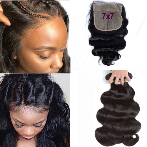 Osolovely Hair Body Wave 3 Bundles With 7x7 Closure Human Hair Bundles With 7x7 Lace Closure Lace Closure Human Hair Extension
