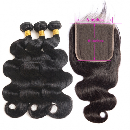 Osolovely Beauty Body Wave 6x6 Lace Closure With 3 Pieces Bundles a Lot