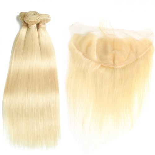 Osolovely BEAUTY 613 Blonde Straight Hair Weave Human Hair Bundles with Closure 3PC Remy Hair and 1PC 13x6 Lace Frontal Closure