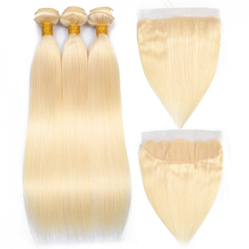 Osolovelybeauty 613 Bundles With 13x4 Frontal Straight 3 Bundles With Closure Remy Human Hair Blonde Bundles With Frontal Closure