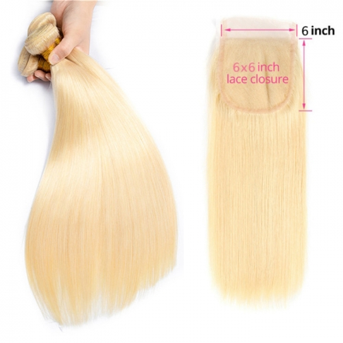 Osolovely beauty Hair Straight 613 Blonde Human Hair 3 Bundles With 6x6 Closure Hair Extension 10-26inch Hair