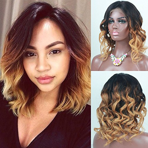 Osolovely Beauty Lace front Human Hair Bob Wig Remy Short Bob Wig wavy Hair 130% Density Ombre Color 3T 1b/4/27 Human Hair Wig Baby Hair