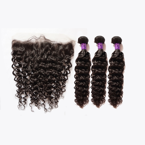 Osolovely Hair Water Wave Human Hair Extension 3 Bundles With 13x6 Transparent/Medium Brown Lace Frontal Pre Plucked Natural Hairline