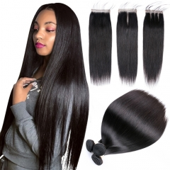 Osolovelybeauty Straight Bundles With Closure Human Hair Weave Bundles With Closure Human Hair Bundles With Closure Hair Extension 4x4 closure