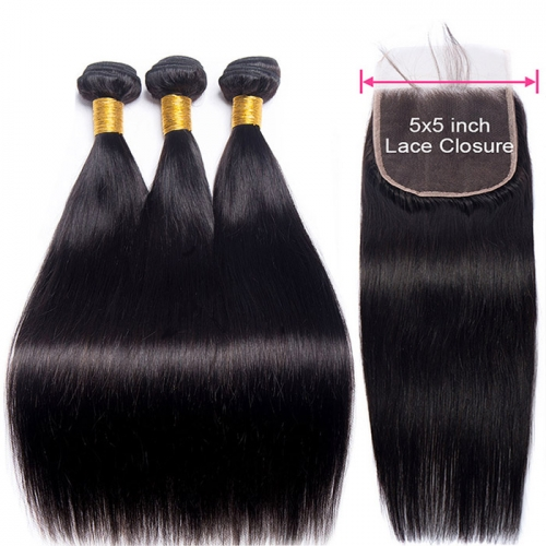 Osolovelybeauty Straight Hair Bundles With Closure 5x5 Lace Closure With 3 Bundles Weave Remy Human Hair Bundles With Closure
