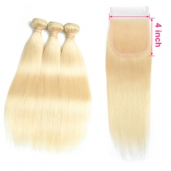 613 Blonde Bundles With Closure Ear To Ear Straight Human Hair Bundles Blonde Human Hair Weave 3 Bundles with 4x4 Closure