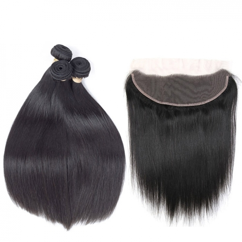 Osolovelybeauty Straight Hair Bundles With Frontal Non-Remy Human Hair Bundles With 13x4 Closure Hair Weave Bundles With Closure