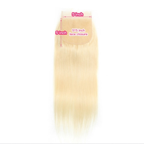 Osolovelybeauty Blonde 5X5 Straight Lace Closure Free Part With Baby Hair Swiss Lace Human Virgin Hair 613 Color