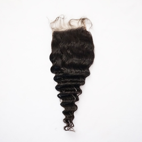 Osolovelybeauty Transparent/Medium Brown Lace 5X5 Deep Wave Lace Closure Free Part With Baby Hair Swiss Lace Human Hair Virgin Hair Natural Color