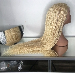 Osolovely Beauty Blonde Curly and Wave Full Lace Human Hair Wigs #613 Pre Plucked Glueless Virgin Hair Lace Wigs With Baby Hair