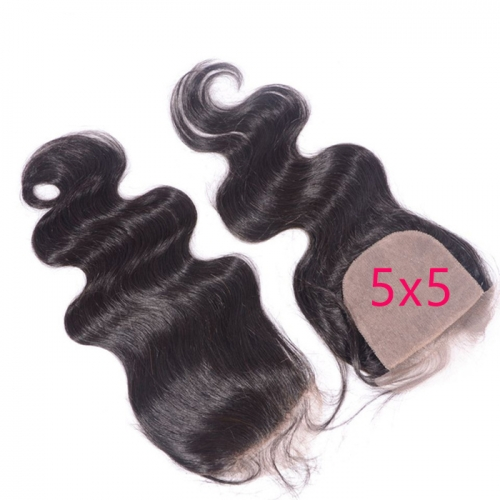 Osolovelybeauty Body Wave Silk Base Closure Remy Hair 5x5 Silk Closure with Bleached Knots 5x5 Closure