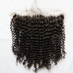 Kinky Curly Transparent Lace 13x6 Lace Frontal Closure With Baby Hair