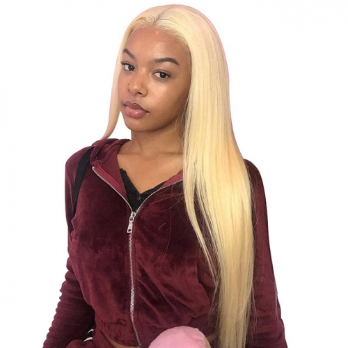 613 Honey Blonde Color Straight 13x6 Lace Front Human Hair Wig 10 - 24 inch 13x6 Lace Wig Blonde 613  Frontal Wigs