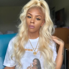 Osolovely Beauty Blonde Body Wave 360 Lace Wigs Pre Plucked Glueless Virgin Hair With Baby Hair