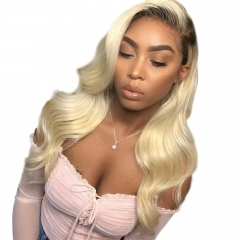 Osolovelybeauty 1B 613 13x6 Pre Plucked Ombre Blonde Lace Front Body Wave Human Hair Wigs with Baby Hair