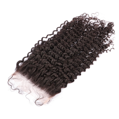 Osolovelybeauty 100% Human Virgin Hair Deep Curly 10-22 Inch Transparent/Medium Brown Lace 6x6 Lace Closure Natural Hairline