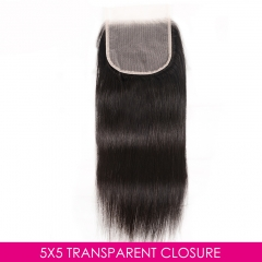 Osolovelybeauty Transparent/Medium Brown Lace 5X5 Straight Lace Closure With Baby Hair
