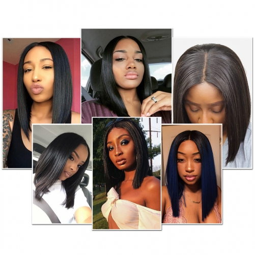 Osolovely Lace Front Bob Wig Straight Pre Plucked Natural Hairline